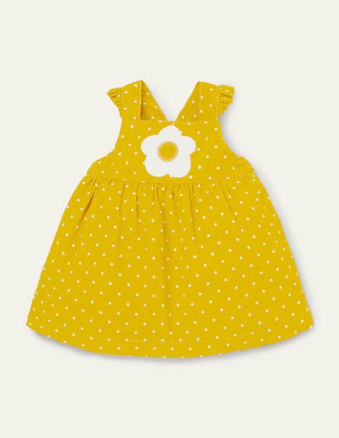 Yellow Polka Dot Cord Pinafore Dress - Sweetcorn Pin Spot