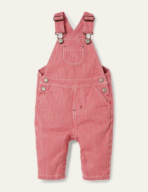 Classic Ticking Dungarees - Cherry Tomato Ticking