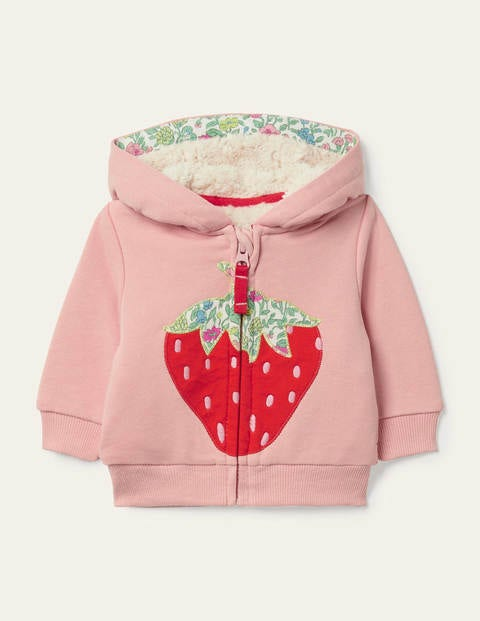 Appliqué Zip-up Hoodie - Boto Pink Strawberry
