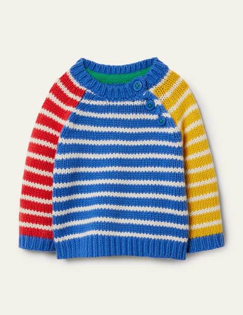Pullover mit Streifenmix - Elisabethanisches Blau/Bunt