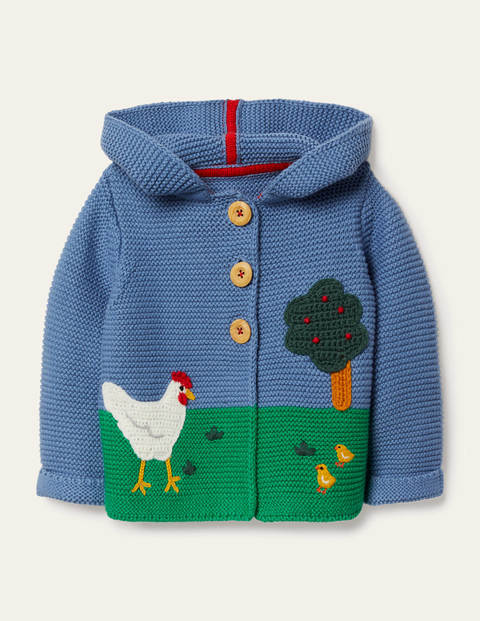 Scene Knitted Jacket - Elizabethan Blue Scene