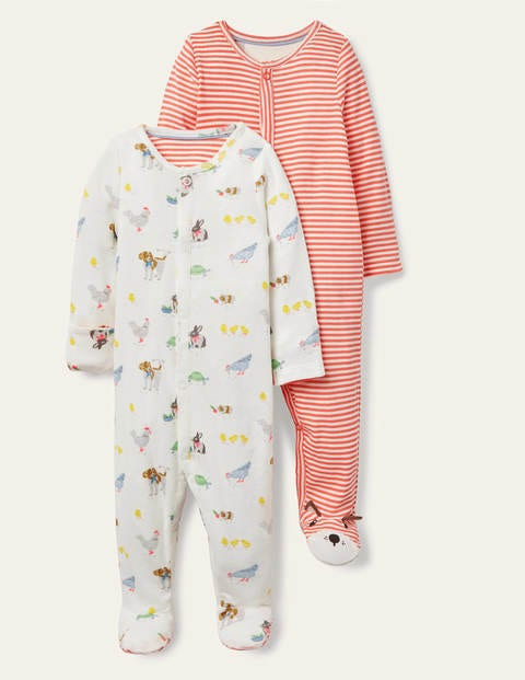 Organic Twin Pack Sleepsuit - Ivory Pet Friends