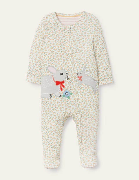Rose Organic Zip-up Sleepsuit - Ivory Tiny Rose