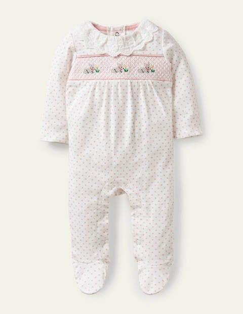 Gesmokter Schlafanzug aus Biobaumwolle mit Tupfen - Delfinrosa, Minipunkte