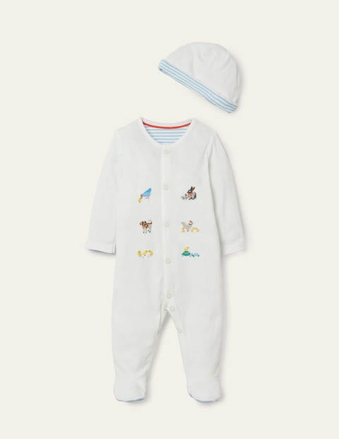 Organic Sleepsuit & Hat Set - Ivory Pet Friends