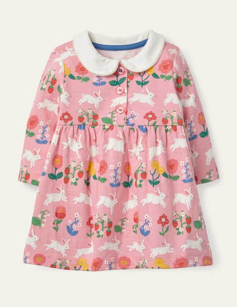 Jersey Collared Dress - Pink Lemonade Bunny