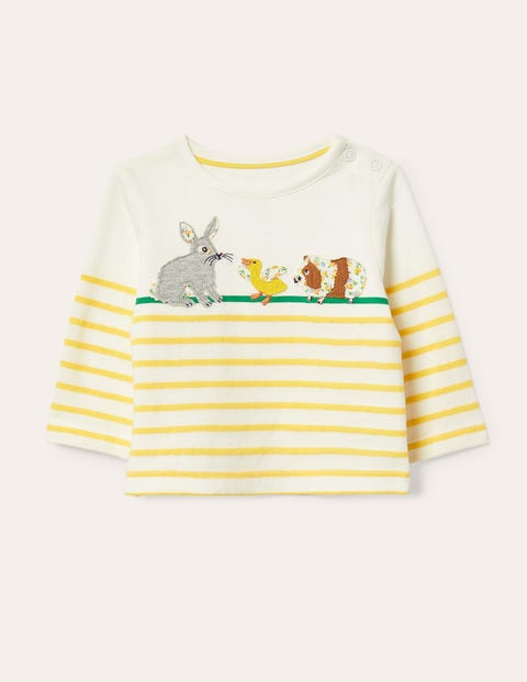 Breton Appliqué T-shirt - Ivory/Sweetcorn Yellow Bunnies
