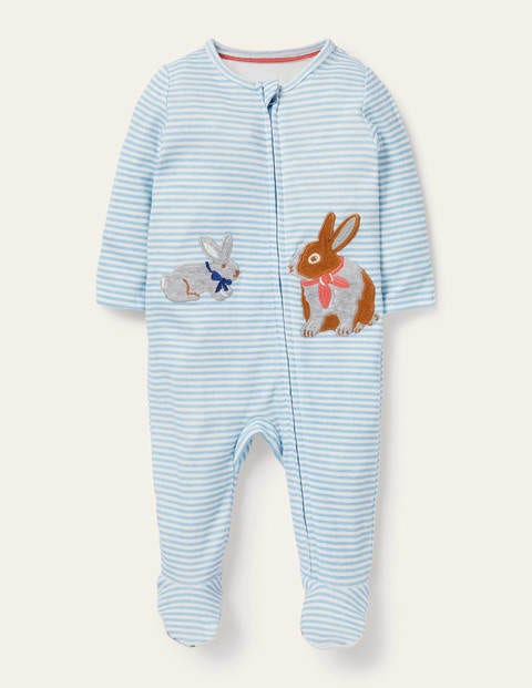 Zip-up Organic Sleepsuit - Frosted Blue/Ivory