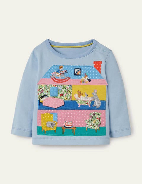 Lift-the-flap House T-shirt - Provence Blue