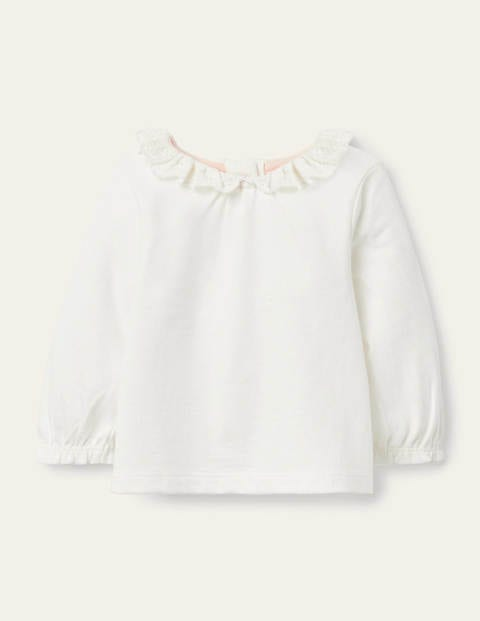 Long-sleeved Broderie T-shirt - Ivory Broderie