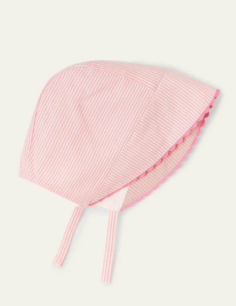 Woven Bonnet - Pink Lemonade/Ivory Ticking