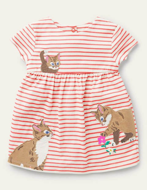 Big Appliqué Jersey Dress - Ivory/Guava Pink Cats