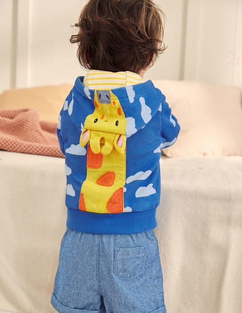 Novelty Zip-up Hoodie - Elizabethan Blue Giraffe