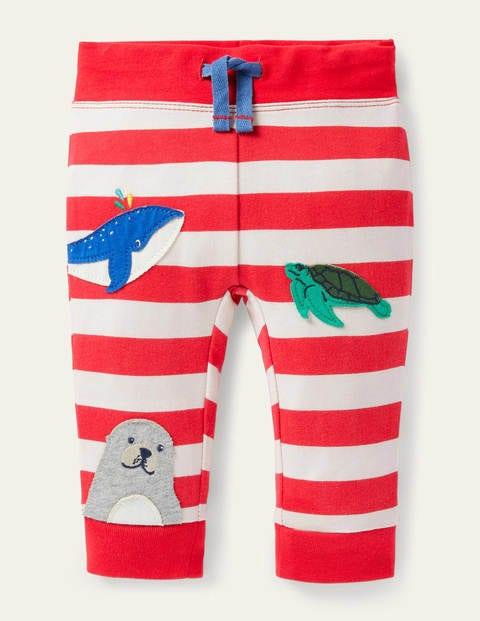 Novelty Appliqué Bottoms - Ivory/Strawberry Red Animals