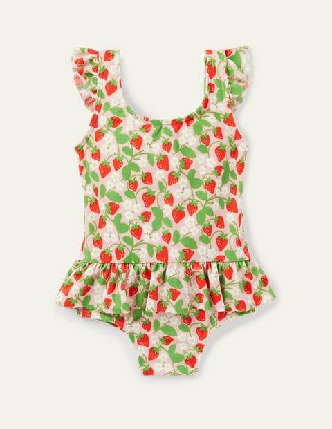 Frill Waist Swimsuit - Boto Pink Ditsy Strawberry