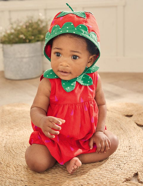Woven Bubble Romper - Strawberry Tart Red