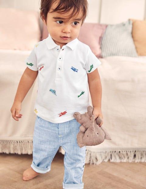 Fun Piqué Polo Shirt - Ivory Planes Embroidery