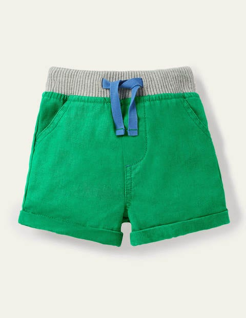Rib Waist Woven Shorts - Sapling Green
