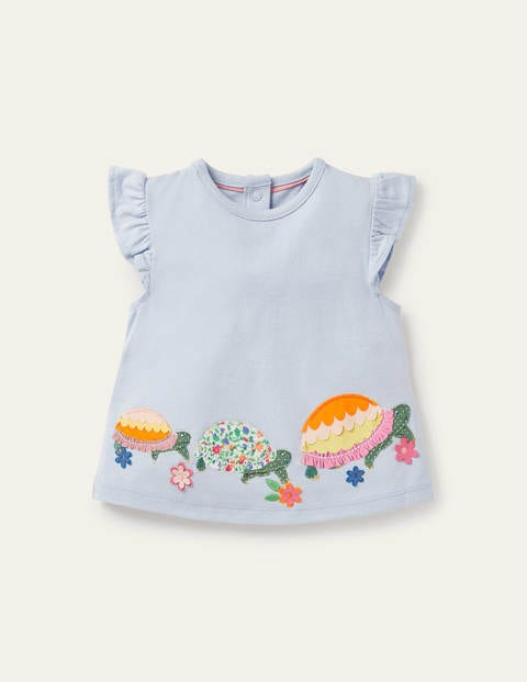 Frill Flutter Appliqué T-shirt - Provence Blue Turtles