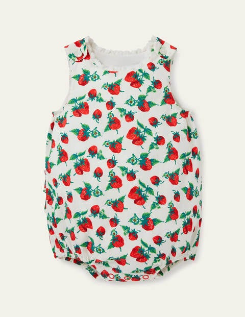 Frill Woven Romper - Ivory Vintage Strawberries