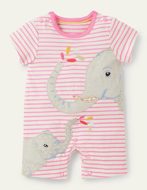 Jersey Appliqué Romper - Ivory/Blossom Pink Elephants