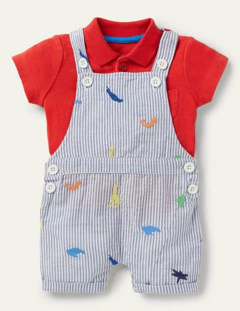 Short Dungaree Set - Animal Kingdom Embroidery