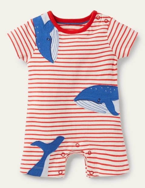 Short Jersey Romper - Ivory/Strawberry Tart Whales