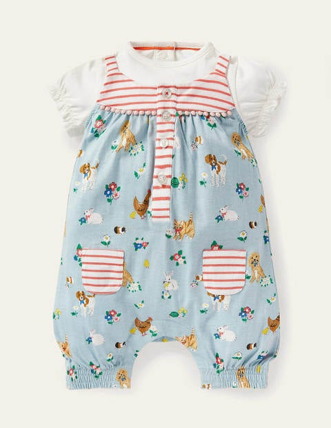 Jersey Hotchpotch Romper Set - Multi Floral Pets