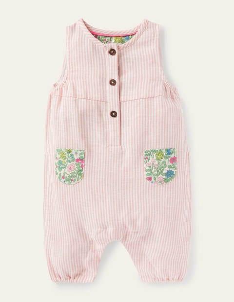 Contrast Pocket Woven Romper - Pink Lemonade Ticking