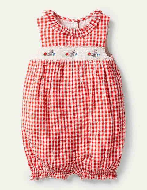 Smocked Check Romper