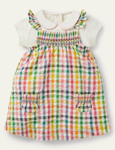 Smocked Gingham Pinnie Set - Party Pink Gingham