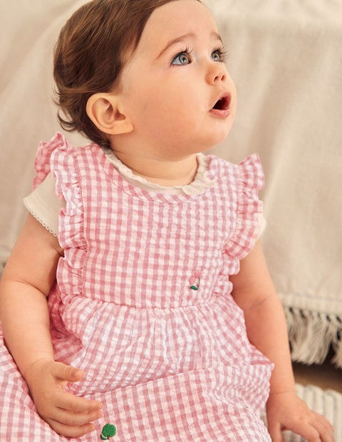 Woven Gingham Fruit Dress