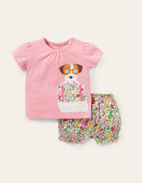 Jersey Appliqué Bloomer Set - Pink Lemonade Vintage Floral