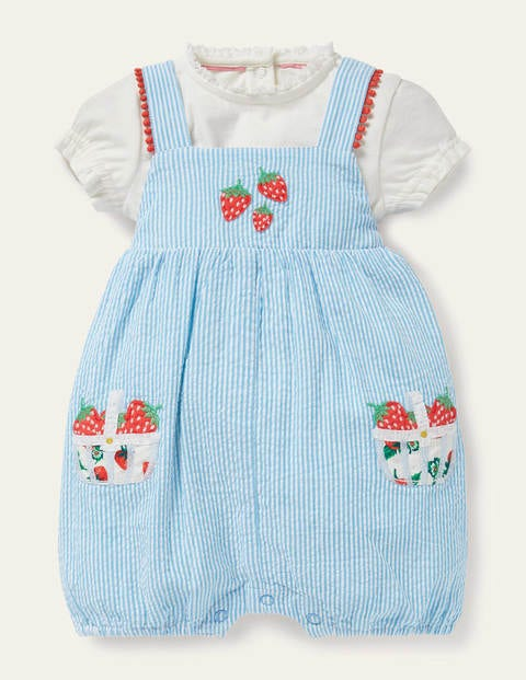 Fruit Romper Set - Surfboard Blue Ticking