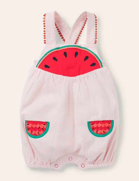 Fun Ticking Romper - Pink Lemonade Watermelons
