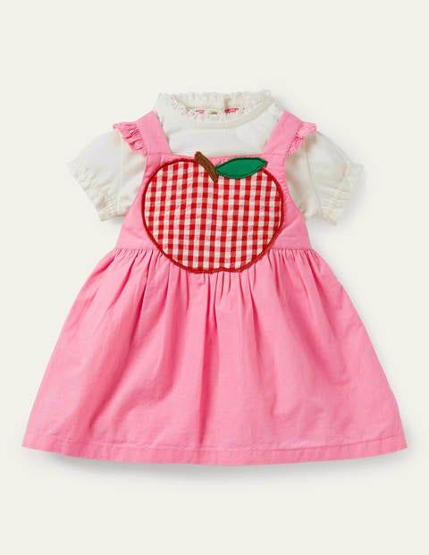 Ensemble avec robe chasuble à motif pomme - Vichy rose limonade
