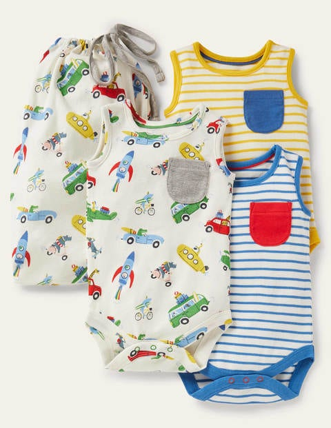 Sleeveless Bodysuits 3 Pack - Ivory Animal Adventures