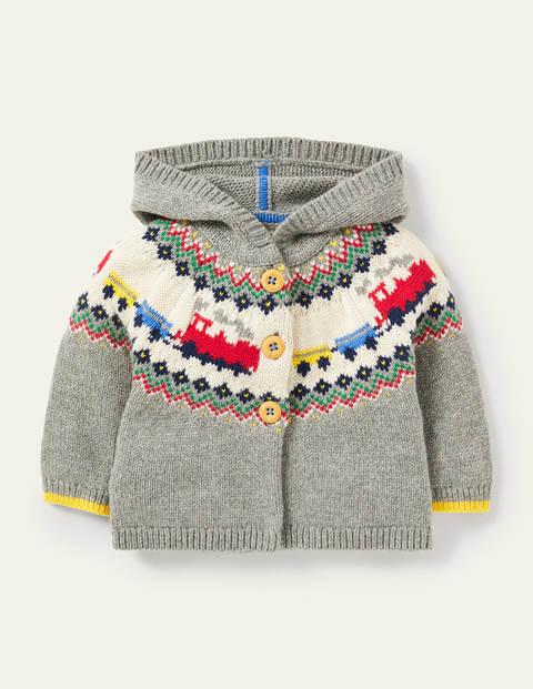 Fair Isle Knitted Jacket - Grey Marl Trains
