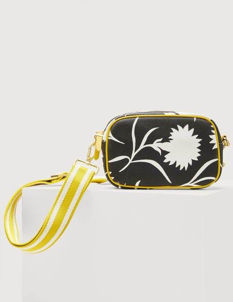 Olivia Canvas Crossbody Bag - Black, Leafy Bud
