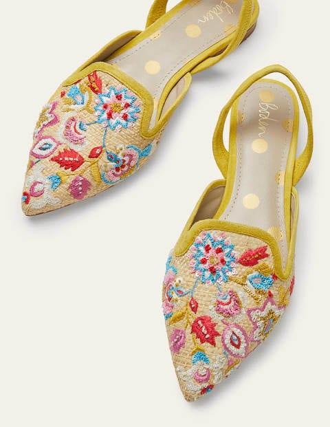 Flache Schuhe mit Stickerei und Bast - Natur