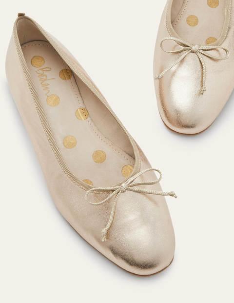 High Cut Ballerinas - Gold Metallic
