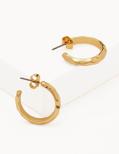 Hammered Hoop Earrings - Gold