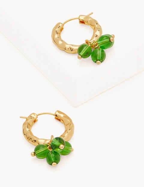 Hammered Beaded Hoop Earrings - Green