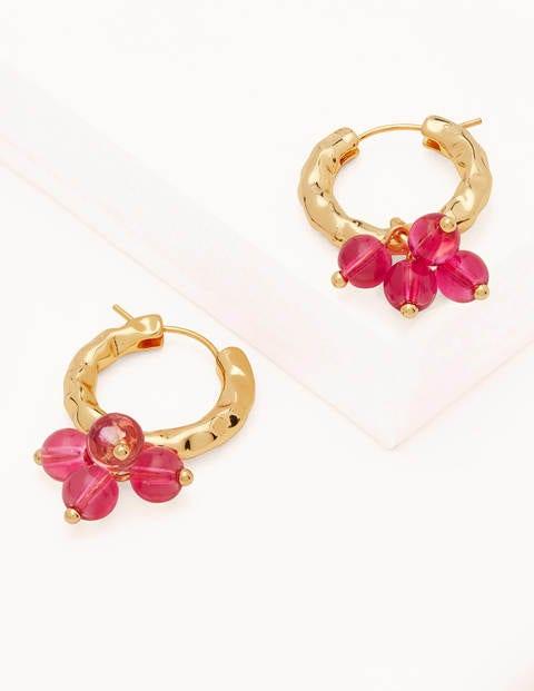 Hammered Beaded Hoop Earrings - Pink