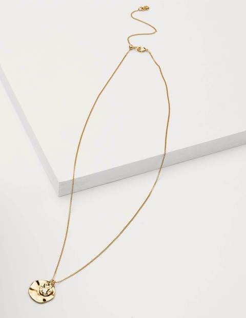 Hammered Disk Necklace - Gold