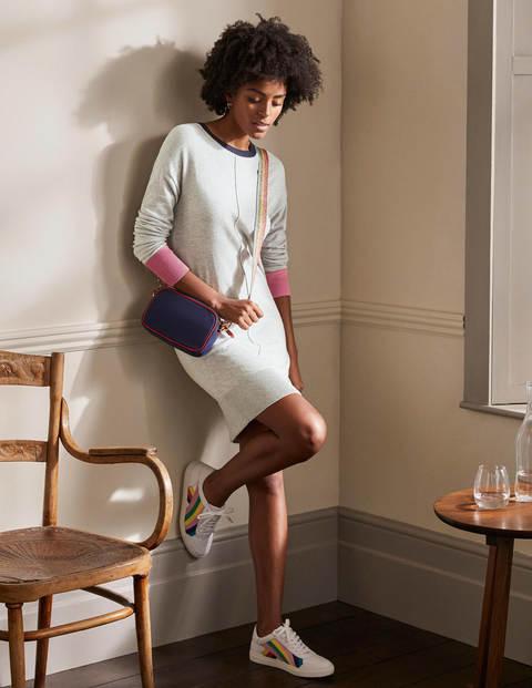 Colourblock Knitted Dress - Grey Melange