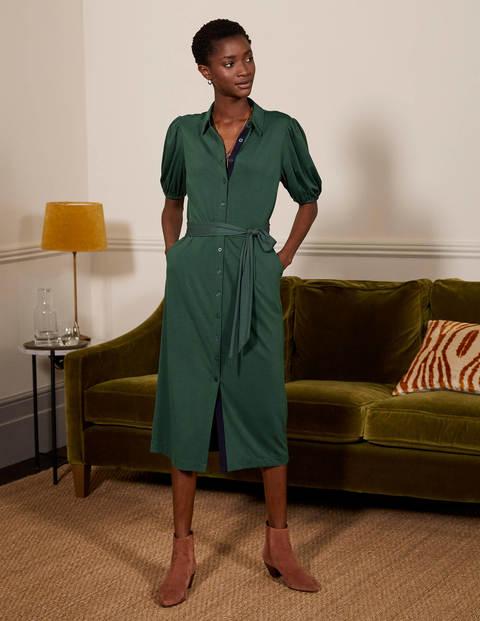Puff Sleeve Jersey Shirt Dress - Wellington Green