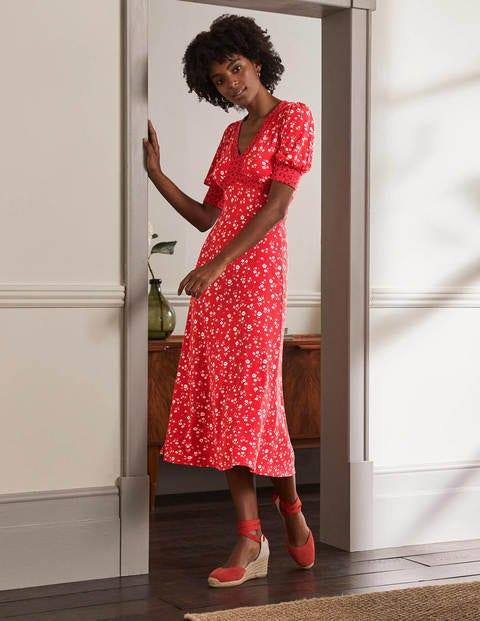 Eva Jersey Midi Dress - Cherry Red, Floral Sprig