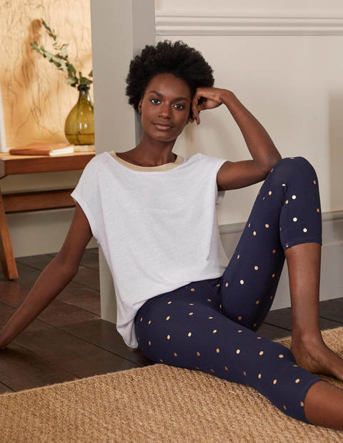 Favourite Cropped Leggings - Navy and Gold, Polka Dot