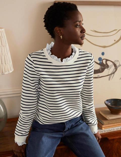 Holly Sweatshirt aus Jersey - Naturweiß/Navy